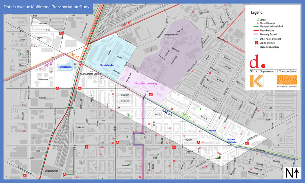 Florida Avenue Multimodal Transportation Study Area Map